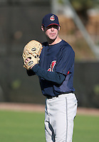 Cleveland Indians minor leaguer Austin Creps during Spring Training at the Chain of Lakes Complex on March 17, 2007 in Winter Haven, Florida.  (Mike Janes/Four Seam Images)