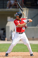Mike Costanzo #4 of the Carolina Mudcats at bat against the Jacksonville Suns at Five County Stadium May 16, 2010, in Zebulon, North Carolina.  Photo by Brian Westerholt /  Seam Images