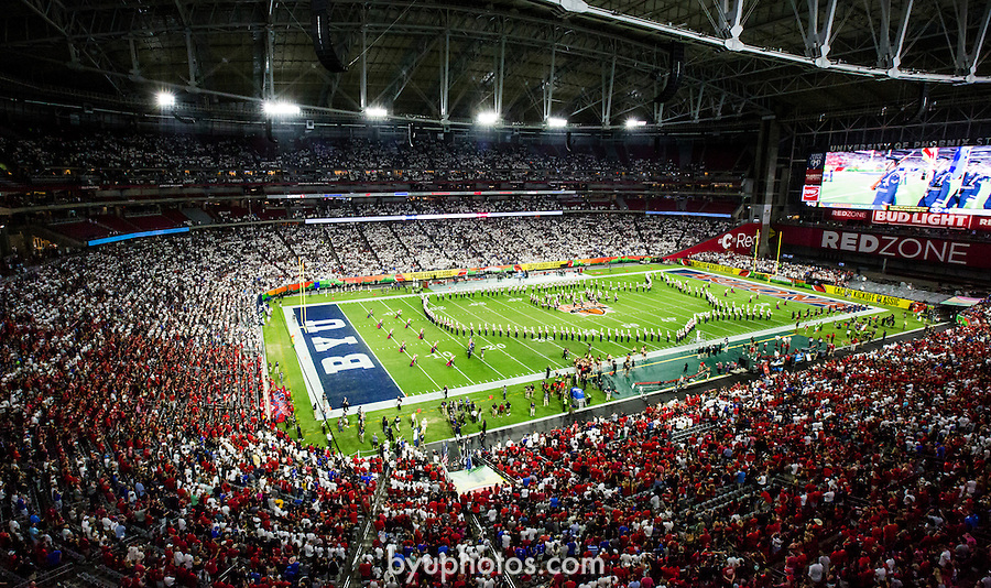 16FTB at Arizona 3843<br /> <br /> 16FTB at Arizona - Cactus Kickoff<br /> <br /> BYU Football defeated Arizona 18-16 in the Cactus Kickoff hosted at the University of Phoenix Stadium in Glendale, Arizona. It was also the first win for new Head Coach Kalani Sitake. <br /> <br /> September 3, 2016<br /> <br /> Photo by Tabitha Sumsion/BYU<br /> <br /> © BYU PHOTO 2016<br /> All Rights Reserved<br /> photo@byu.edu  (801)422-7322