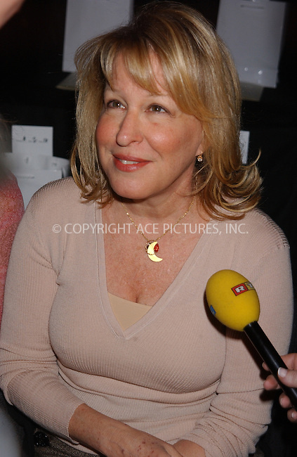 WWW.ACEPIXS.COM . . . . . ....NEW YORK, FEBRUARY 10, 2005....Bette Midler at the Zac Posen Fall 2005 show in Bryant Park.....Please byline: KRISTIN CALLAHAN - ACE PICTURES.. . . . . . ..Ace Pictures, Inc:  ..Philip Vaughan (646) 769-0430..e-mail: info@acepixs.com..web: http://www.acepixs.com
