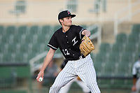 Kannapolis Intimidators starting pitcher Jimmy Lambert (12) in action against the Augusta GreenJackets at Kannapolis Intimidators Stadium on May 3, 2017 in Kannapolis, North Carolina.  The Intimidators defeated the GreenJackets 7-4.  (Brian Westerholt/Four Seam Images)