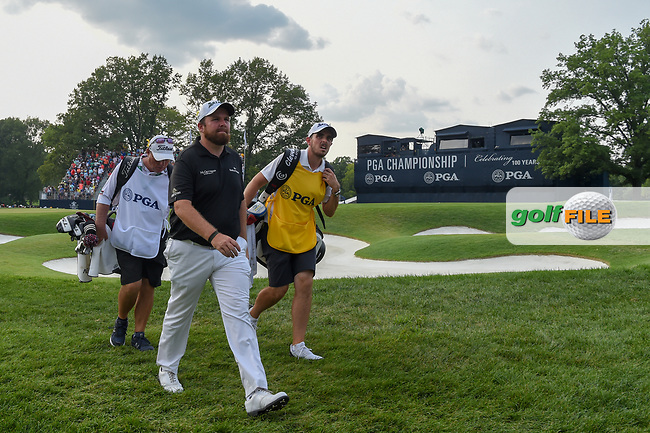 Justin Thomas (USA) and Shane Lowry (IRL) depart the green on 18 during 4th round of the 100th PGA Championship at Bellerive Country Club, St. Louis, Missouri. 8/12/2018.<br /> Picture: Golffile | Ken Murray<br /> <br /> All photo usage must carry mandatory copyright credit (© Golffile | Ken Murray)