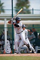 Detroit Tigers Cesar Gonzalez (71) at bat during an Instructional League game against the Pittsburgh Pirates on October 6, 2017 at Pirate City in Bradenton, Florida.  (Mike Janes/Four Seam Images)