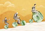 Three businessmen riding money bikes