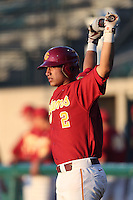Jeremy Martinez #2 of the Southern California Trojans waits to bat against the UC Irvine Anteaters at Dedeaux Field on April 29, 2014 in Los Angeles, California. Stanford defeated Southern California, 6-2. (Larry Goren/Four Seam Images)