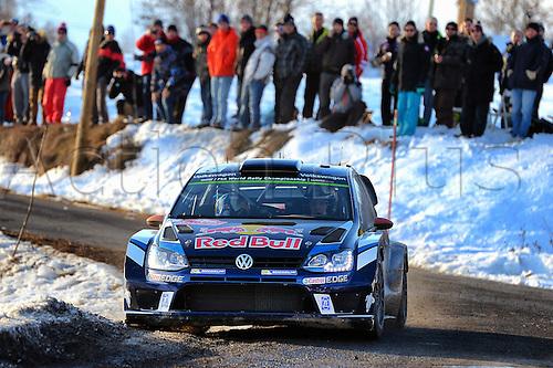 21.01.2016. Monte Carlo, Monaco. The Monte Carlo Rally 2016. The cars takes to the course.  Jari-Matti Latvala (FIN)- Mikka Antilla (FIN) - Volkswagen Polo WRC