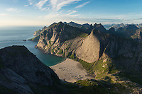 View over Bunes beach from isolated mountain peak, Moskenesøy, Lofoten Islands, Norway