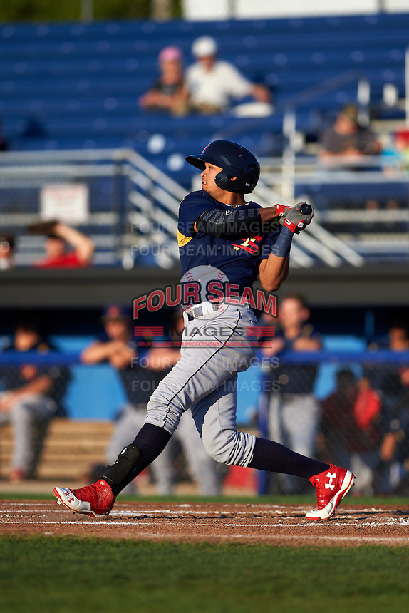 State College Spikes shortstop Leobaldo Pina (13) at bat during a game against the Batavia Muckdogs August 22, 2015 at Dwyer Stadium in Batavia, New York.  State College defeated Batavia 5-3.  (Mike Janes/Four Seam Images)