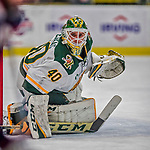 21 November 2017: University of Vermont Catamount goaltender Stefanos Lekkas in first period action against the University of Connecticut Huskies at Gutterson Fieldhouse in Burlington, Vermont. The Huskies defeated the Catamounts 4-1 in Hockey East play. Mandatory Credit: Ed Wolfstein Photo *** RAW (NEF) Image File Available ***