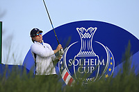 Jodi Ewart Shadoff of Team Europe on the 8th tee during Day 1 Foursomes at the Solheim Cup 2019, Gleneagles Golf CLub, Auchterarder, Perthshire, Scotland. 13/09/2019.<br /> Picture Thos Caffrey / Golffile.ie<br /> <br /> All photo usage must carry mandatory copyright credit (© Golffile | Thos Caffrey)