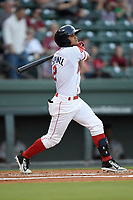 Shortstop Santiago Espinal (2) of the Greenville Drive bats in Game 2 of the South Atlantic League Southern Division Playoff against the Charleston RiverDogs on Friday, September 8, 2017, at Fluor Field at the West End in Greenville, South Carolina. Charleston won, 2-1, and the series is tied at one game each. (Tom Priddy/Four Seam Images)