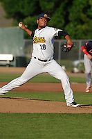 Burlington Bees Jaime Barria (18) throws during the Midwest League game against the Peoria Chiefs at Community Field on June 9, 2016 in Burlington, Iowa.  Peoria won 6-4.  (Dennis Hubbard/Four Seam Images)