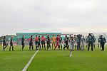 11.08.2019, Stadion Lohmühle, Luebeck, GER, DFB-Pokal, 1. Runde VFB Lübeck vs 1.FC St. Pauli<br /> <br /> DFB REGULATIONS PROHIBIT ANY USE OF PHOTOGRAPHS AS IMAGE SEQUENCES AND/OR QUASI-VIDEO.<br /> <br /> im Bild / picture shows<br /> Vor Spielbeginn die Mannschaften von VfB Luebeck und FC St. Pauli.<br /> <br /> Foto © nordphoto / Freund