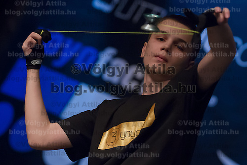 Konstantin Tudjarov of Bulgaria competes during the Yoyo European Championships in Budapest, Hungary on February 24, 2013. ATTILA VOLGYI