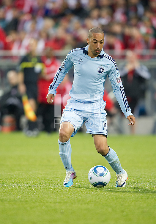Sporting KC midfielder Ryan Smith #11in action during an MLS game between Sporting Kansas City and the Toronto FC at BMO Field in Toronto on June 4, 2011..The game ended in a 0-0 draw...