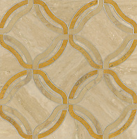 Kelly, a stone water jet mosaic, shown in Persian Gold, Travertine White, and Jerusalem Gold, is part of the Ann Sacks Beau Monde collection sold exclusively at www.annsacks.com