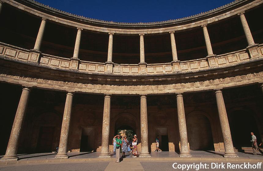 Palast von Karl V. in der Alhambra in Granada, Andalusien, Spanien, Unesco-Weltkulturerbe
