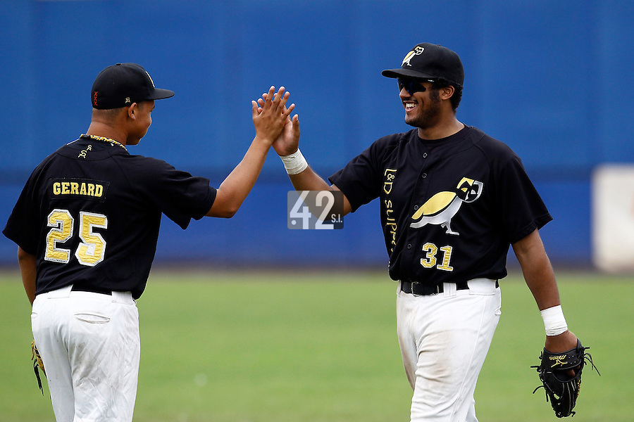 10 September 2011: Tip Connor of L&D Amsterdam Pirates celebrates with Rashard Gerard at the end of game 4 of the 2011 Holland Series won 6-2 by L&D Amsterdam Pirates over Vaessen Pioniers, in Amsterdam, Netherlands.