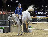 Christian Ahlmann (Germany), riding Aragon Z at the Gucci Gold Cup International Jumping competition at the 2015 Longines Masters Los Angeles at the L.A. Convention Centre.<br /> October 3, 2015  Los Angeles, CA<br /> Picture: Paul Smith / Featureflash