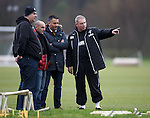 Ally McCoist with his guests Gabriel Marcotti, Albert Ferrer and Guillem Balague at training today