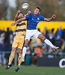 Ross McPherson and Kal Naismith go for the ball
