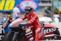 Mar 16, 2019; Gainesville, FL, USA; NHRA pro stock motorcycle rider Matt Smith during the Gatornationals at Gainesville Raceway. Mandatory Credit: Mark J. Rebilas-USA TODAY Sports