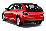 Car pictures of rear three quarter view of a 2018 Skoda Rapid Spaceback Ambition 5 Door Hatchback angular rear
