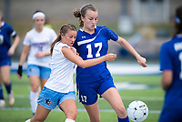 NWA Democrat-Gazette/CHARLIE KAIJO Southside High School Kelly Carson (7) and Rogers High School defender Ashlynn Robinson (17) fight for possession of the ball during the semifinals of the 7A Girls State Soccer Tournament, Saturday, May 12, 2018 at Whitey Smith Stadium at Rogers High School in Rogers. Rogers advanced to the finals when midfielder Skylurr Patrick (3) scored both of Rogers' goals defeating Southside High School, 2-1.