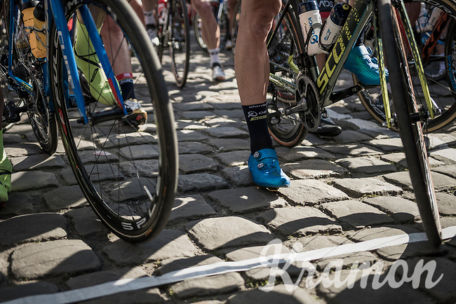 the cobbled start line in Compi&egrave;gne<br /> <br /> 115th Paris-Roubaix 2017 (1.UWT)<br /> One Day Race: Compi&egrave;gne &rsaquo; Roubaix (257km)