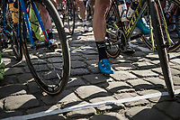 the cobbled start line in Compiègne<br /> <br /> 115th Paris-Roubaix 2017 (1.UWT)<br /> One Day Race: Compiègne › Roubaix (257km)