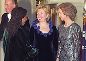 Actress Whoopi Goldberg, left, is greeted by First Lady Hillary Rodham Clinton, center, as she passes through the receiving line in the Grand Foyer of the White House prior to the State Dinner honoring the Queen and King Juan Carlos I of Spain on February 23, 2000 in Washington, D.C.  Queen Sofia of Spain, right, looks on. <br /> Credit: Ron Sachs / CNP