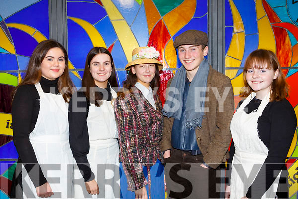 At the Mercy Mounthawk Secondary School annual musical Dress Rehearsal My Fair Lady, l-r, Charlotte O'Halloran, Sorcha Ringland, Grainne Raggett, Sean Gannon and Sinead Foran.