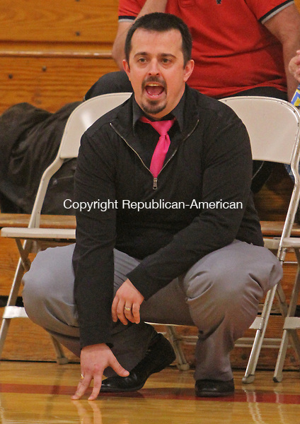Litchfield, CT-011416MK01  Thomaston's coach AJ Bunel calls to his players from the bench during Berkshire League action against Wamogo Thursday night at Wamogo High School.  Wamogo defeated Thomaston 49 - 27. Michael Kabelka Republican-American