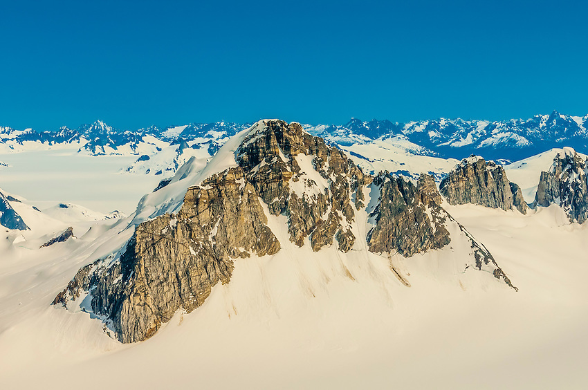 Aerial view of the Juneau Icefield, which is the fifth-largest ice field in the Western Hemisphere. Juneau, Alaska USA.