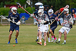 GER - Hannover, Germany, May 30: During the Men Lacrosse Playoffs 2015 match between HLC Rot-Weiss Muenchen (blue) and KKHT Schwarz-Weiss Koeln (weiss) on May 30, 2015 at Deutscher Hockey-Club Hannover e.V. in Hannover, Germany. Final score 5:6. (Photo by Dirk Markgraf / www.265-images.com) *** Local caption *** Dominic Schueler #29 of KKHT Schwarz-Weiss Koeln, Philip Werner #7 of HLC Rot-Weiss Muenchen