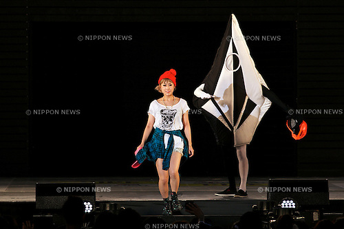"IMALU, August 18, 2014: Model IMALU wearing fashion brand VOLCOM walks down the catwalk during the Fashion Runway Show of ""a-nation & Girls Award island collection by NYLON JAPAN"" at the Yoyogi Gymnasium in Shibuya, Japan in August 18, 2014 in Tokyo, Japan. This year the event has collaborated with the Japanese fashion magazines CanCam, Numero Tokyo, nicola, it LOVE, NYLON JAPAN, non-no and sweet. (Photo by Rodrigo Reyes Marin/AFLO)"