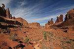 Courthouse Towers, Park Avenue rock formation, Arches National Park, Utah.