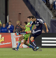 New England Revolution midfielder Marko Perovic (29) shoots the ball. The New England Revolution defeated the Seattle Sounders FC, 3-1, at Gillette Stadium on September 4, 2010.