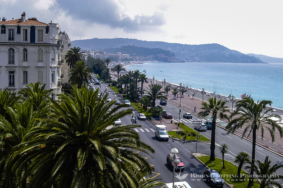 Promenade des Anglais along the Mediterranean Sea at Nice, France.