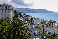 Promenade des Anglais along the Mediterranean Sea at Nice, France.