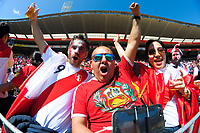 Fans in the grandstand during the 2018 FIFA World Cup Russia first-leg playoff football match between the NZ All Whites and Peru at Westpac Stadium in Wellington, New Zealand on Saturday, 11 November 2017. Photo: Dave Lintott / lintottphoto.co.nz