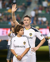 CARSON, CA – August 20, 2011: New LA Galaxy forward Robbie Keane (14) before his first match for the Galaxy in the game between LA Galaxy and San Jose Earthquakes at the Home Depot Center in Carson, California. Final score LA Galaxy 2, San Jose Earthquakes 0.