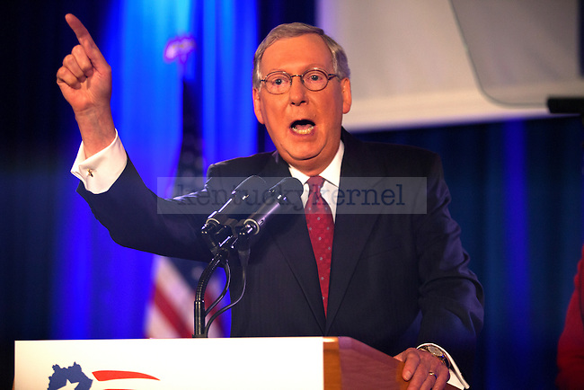 United States Minority Leader Mitch McConnell speaks after defeating challenger Alison Lundergan Grimes in Louisville, Ky.,on Tuesday, November 4, 2014. Photo by Michael Reaves   Staff