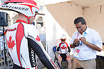 November 12 2011 - Guadalajara, Mexico:  Ed Veal has some equipment inspected before his road race at the 2011 Parapan American Games.  Photos: Matthew Murnaghan/Canadian Paralympic Committee