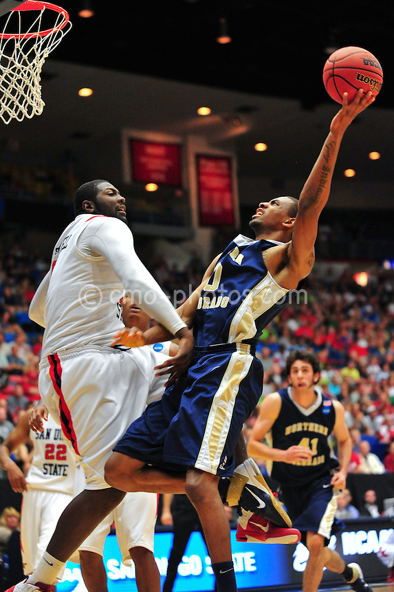 Mar 17, 2011; Tucson, AZ, USA; Northern Colorado Bears forward Emmanuel Addo (0) shoots the ball in the first half of a game against the San Diego State Aztecs in the second round of the 2011 NCAA men's basketball tournament at the McKale Center. Mandatory Credit: Chris Morrison-US PRESSWIRE