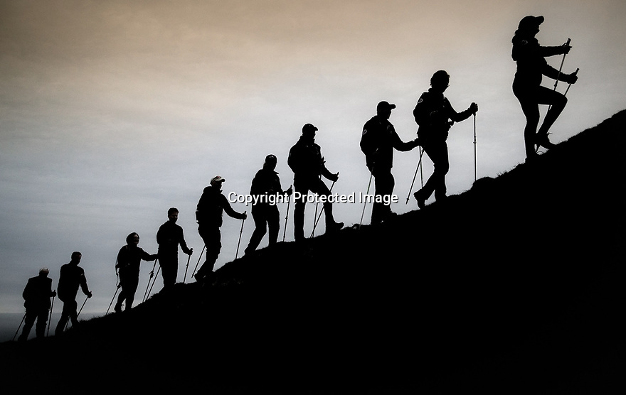 03/05/18<br /> <br /> Nordic Walkers take an evening walk up Thorpe Cloud near Dovedale, Ashbourne in the Derbyshire Peak District to mark the start of the Rustick Nordic Walking festival which will see more than three hundred walkers all equipped with walking poles take part in walks in the Derbyshire Peak District over the next two days.<br /> All Rights Reserved: F Stop Press Ltd. +44(0)1335 344240  www.fstoppress.com.