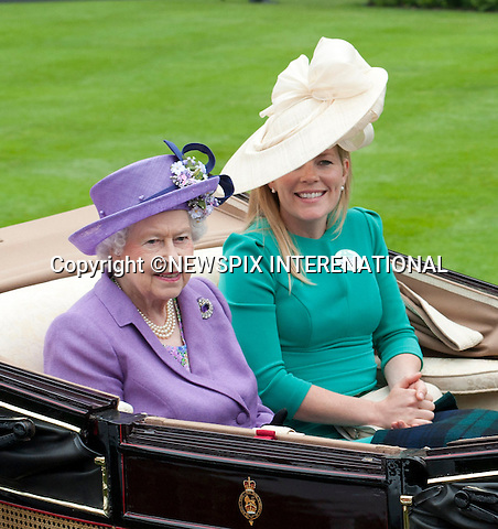 THE QUEEN AND AUTUMN PHILLIPS<br /> attend the Royal Meeting at Ascot on Ladies Day, Ascot Racecourse, Ascot_20/06/2013<br /> Mandatory Credit Photo: &copy;Dias/NEWSPIX INTERNATIONAL<br /> <br /> **ALL FEES PAYABLE TO: &quot;NEWSPIX INTERNATIONAL&quot;**<br /> <br /> IMMEDIATE CONFIRMATION OF USAGE REQUIRED:<br /> Newspix International, 31 Chinnery Hill, Bishop's Stortford, ENGLAND CM23 3PS<br /> Tel:+441279 324672  ; Fax: +441279656877<br /> Mobile:  07775681153<br /> e-mail: info@newspixinternational.co.uk