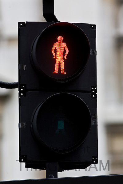 Red for stop on pedestrian crossing traffic lights, London, United Kingdom