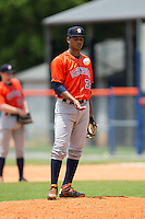 Greeneville Astros relief pitcher Albert Abreu (36) flips the ball in the air as he waits for the inning to begin during the game against the Kingsport Mets at Hunter Wright Stadium on July 7, 2015 in Kingsport, Tennessee.  The Mets defeated the Astros 6-4. (Brian Westerholt/Four Seam Images)