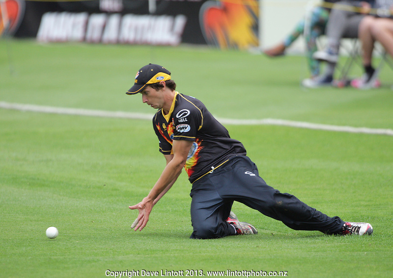 Mark Houghton fields during the HRV Cup Twenty20 cricket match between the Wellington Firebirds and Northern Knights at Hawkins Finance Basin Reserve, Wellington, New Zealand on Sunday, 13 January 2013. Photo: Dave Lintott / lintottphoto.co.nz